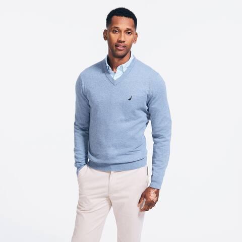 Nautica Men's Lightweight Jersey V-Neck Sweater Blue Size 2 Extra Large