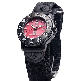 Smith & Wesson 455 Fire Fighter Watch Date Display Glow Nylon Strap 40mm 3ATM - Red