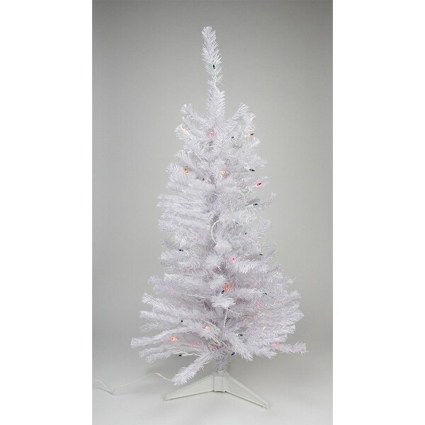 3' Pre-lit White Iridescent Pine Artificial Christmas Tree - Multi Lights