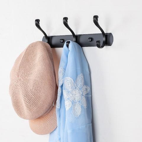 Dual Wall Hook Stainless Steel Base 10 Inch 3 Hooks Coat Towel Holder Black