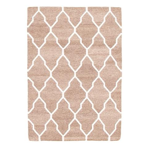 ECARPETGALLERY Flat-weave Marrakech Brown Wool Kilim - 4'1 x 5'10