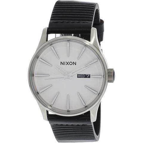 Nixon Men's Sentry Leather A1052855 Silver Japanese Quartz Fashion Watch