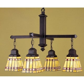 Meyda Tiffany 24265 Stained Glass / Tiffany 4 Light Down Lighting Chandelier from the Prairie Corn Collection