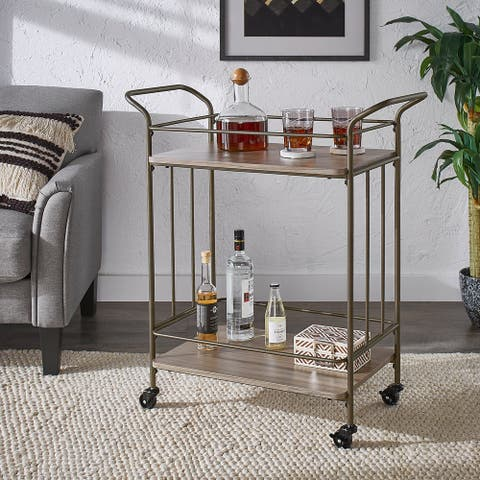 Palacios Bronze Finish and Wood Straight Lines Bar Cart by iNSPIRE Q Modern