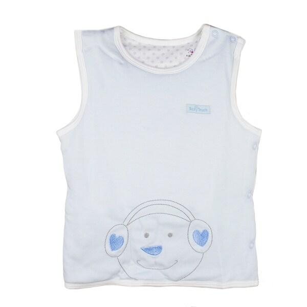 0-1 year infant toddler Cotton Sleeveless round collar Vest Unisex Baby Pullover blue 73
