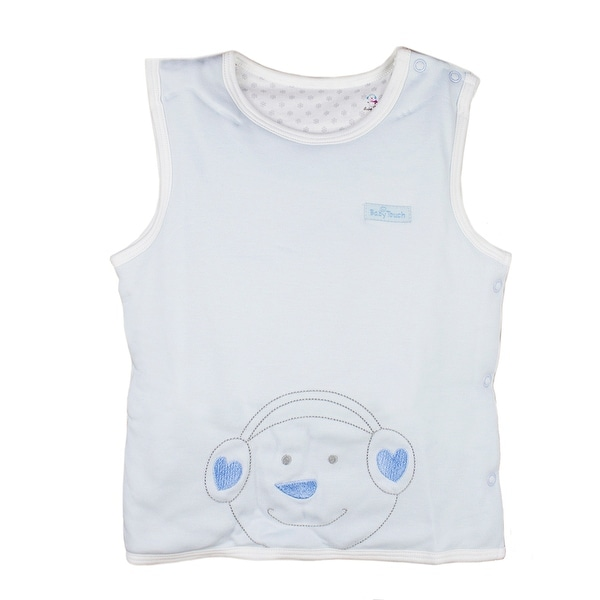 0-1 year infant toddler Cotton Sleeveless round collar Vest Unisex Baby Pullover blue 80