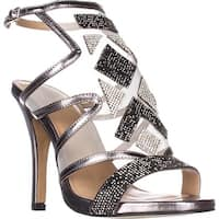 TS35 Regalo Rhinestone Mesh Dress Sandals, Pewter
