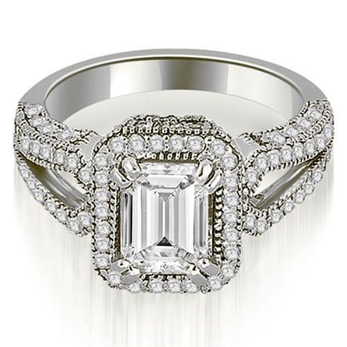 1.35 cttw. 14K White Gold Milgrain Halo Emerald Cut Diamond Engagement Ring