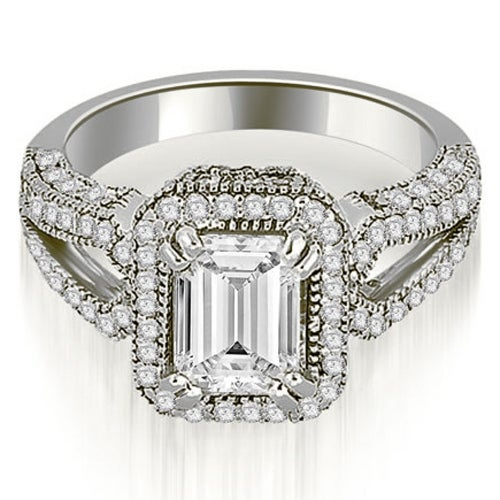 1.60 cttw. 14K White Gold Milgrain Halo Emerald Cut Diamond Engagement Ring HI, SI1-2