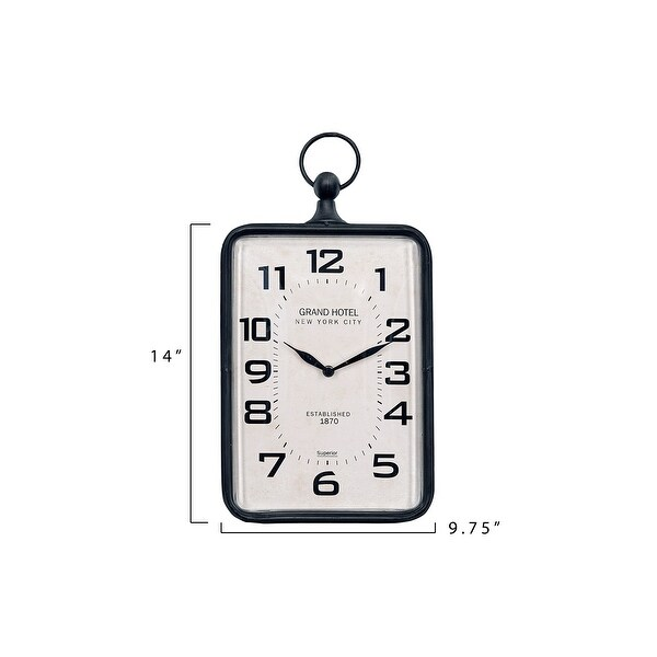 Metal Rectangle Hanging Clock with Handle Decoration on Top