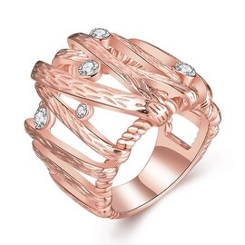 Rose Gold Plated Vertical Lined Crystal Covering Ring