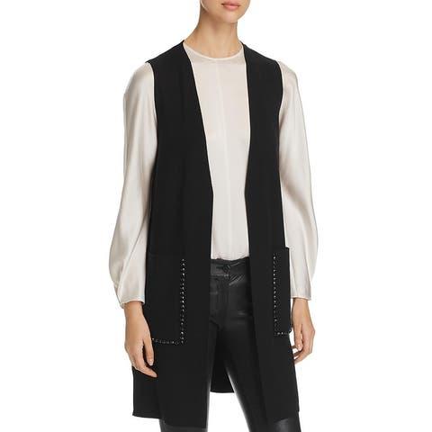 Le Gali Womens Taryn Duster Sweater Sleeveless Embellished