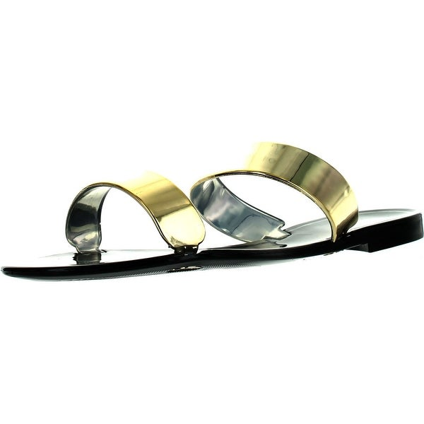 Bamboo Womens Dalia-02 Double Band Fashion Jelly Sandals - Black - 7 b(m) us