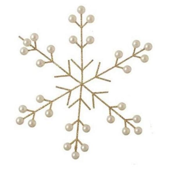 "8.5"" Gold and Pearl Glittered Snowflake Christmas Ornament"