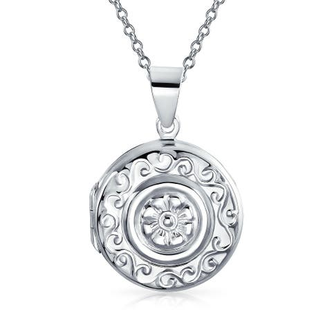 Round Circle Boho Fashion Locket Hold Pictures For Women Photo Pendant - 18