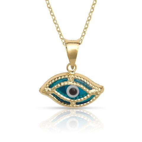 "Curata 14k Yellow Gold 18"" Small Reversable Blue Enamel Evil Eye Pendant Necklace - 10 x 16"