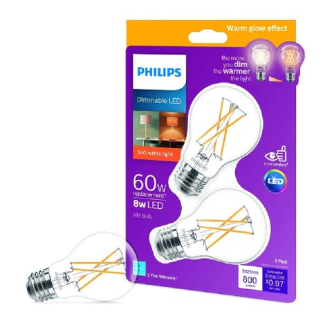 Philips 536532 A-Line A19 LED Bulb, Clear, 8 Watts