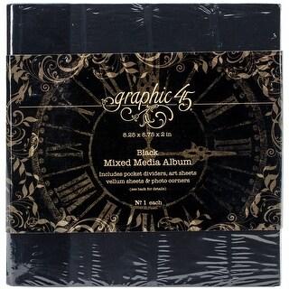 """Graphic 45 Staples Mixed Media Album 8""""X8""""-Black"""