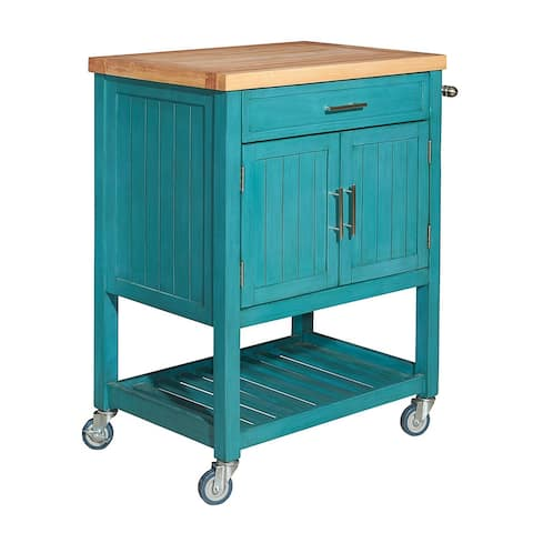 Plank Style Wooden Kitchen Cart with 1 Drawer, Blue