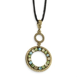 Brass Blue Green & Lt. Colorado Crystal Necklace - 16in