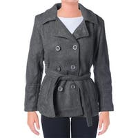 YMI Womens Juniors Pea Coat Faux Wool Double Breasted