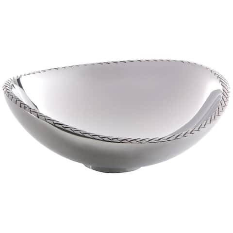 Nambe Hand Crafted Classic Intricate Textured Braided Rim Nut Serving Bowl - Silver