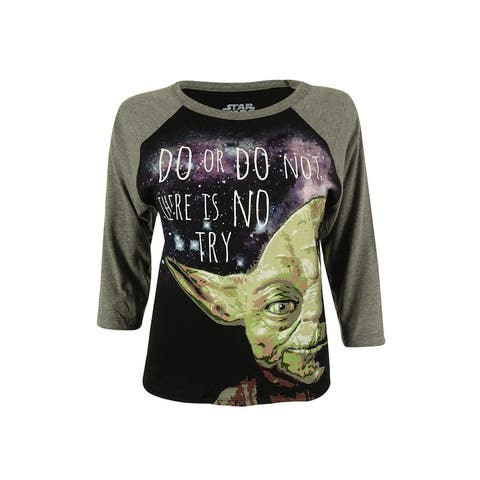 Star Wars Junior's Yoda Graphic Baseball T-Shirt - Black/Heather Charcoal - S