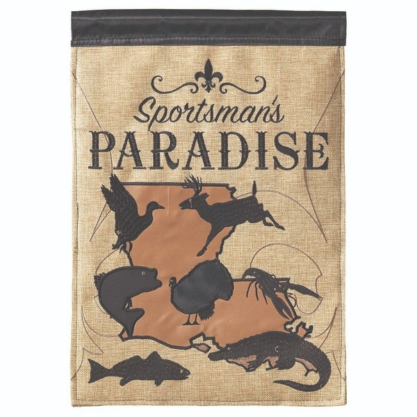 """Brown and Beige """"Sportsman's PARADISE"""" Printed Rectangular Large Flag 42"""" x 29"""" - N/A"""