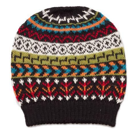 NOVICA Motif MedleyWool knit hat