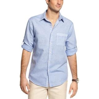 Tasso Elba Big and Tall Island Shirt Large Tall LT Light Blue 16 - 16.5