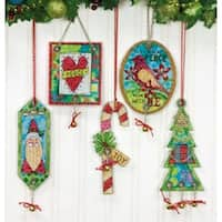"""8.25""""X11"""" 14 Count Set Of 5 - Jingle Bell Ornaments Counted Cross Stitch Kit"""