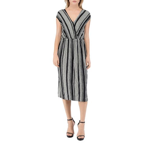 Bobeau Womens Midi Dress Striped V-Neck - Black