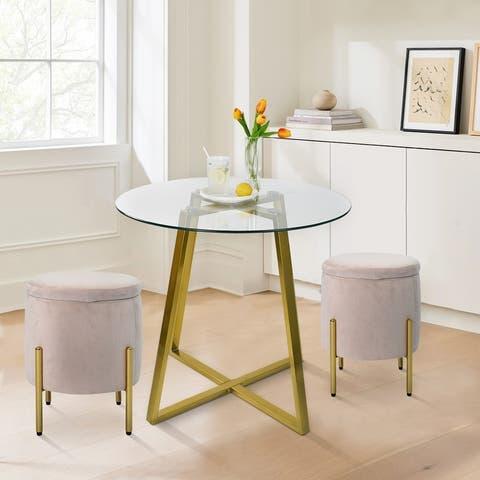 dining table set round glass table velvet ottoman set of 2