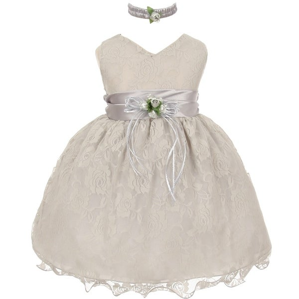 Baby Girls Silver Lace Overlay Flower Sash Special Occasion Dress 3-24M