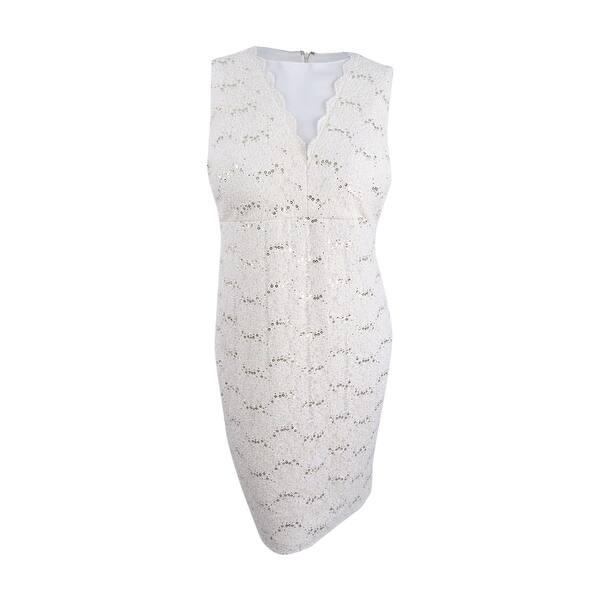 Nightway Women\'s Plus Size Embellished Sheath Dress (22W, Ivory) - Ivory -  22W