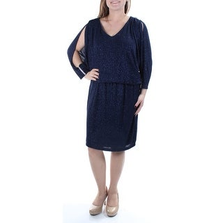 MSK $89 Womens New 1402 Navy Rhinestone Glitter Long Sleeve Blouson Dress 8 B+B