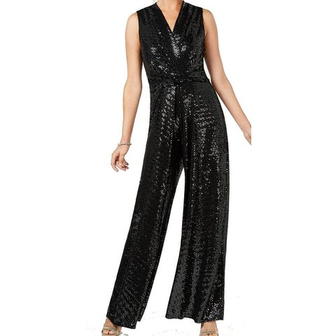 Jessica Howard Black Womens Size 14 Surplice Sequin Jumpsuit