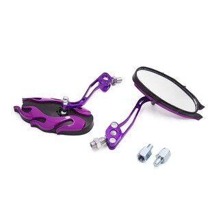 2Pcs 8mm 10mm Thread Purple Shell Oval Shape Rearview Mirror For Motorcycle