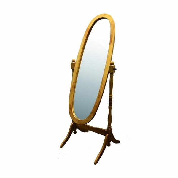 Classic Oval Cheval Floor Mirror with Natural Wood Finish Frame. Opens flyout.