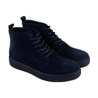 Calvin Klein Natel Calf Mens Blue Suede High Top Lace Up Sneakers Shoes