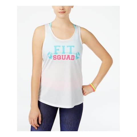 ENERGIE Womens White Racerback FIT SQUAD Sleeveless Scoop Neck Active Wear Top Size: XL