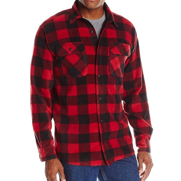775554fc259 Shop Wrangler Red Black Mens Size XL Fleece Button Down Shirt Jacket - Free  Shipping On Orders Over  45 - Overstock - 27186452