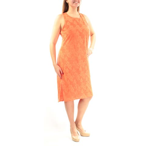443dd805b2c NINE WEST Womens Orange Textured Floral Sleeveless Jewel Neck Below The  Knee Shift Dress Size