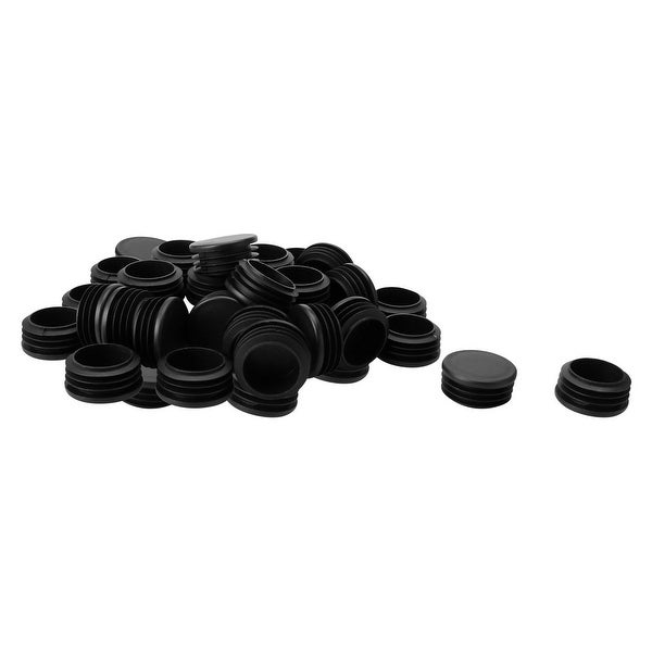 "40pcs 42mm OD Plastic Round Tube Insert Ribbed Pipe Cover Black Floor Furniture Feet Protector, Fit for 1.53""-1.61"" Inner Dia"