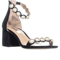 I35 Haili Ankle Strap Block Heel Sandals, Black