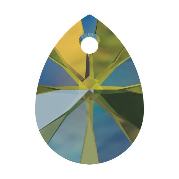 Swarovski Elements Crystal, 6128 Mini Pear Pendants 8mm, 8 Pieces, Crystal Iridescent Green
