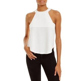 JOA Womens Halter Top Woven Shirttail Hem