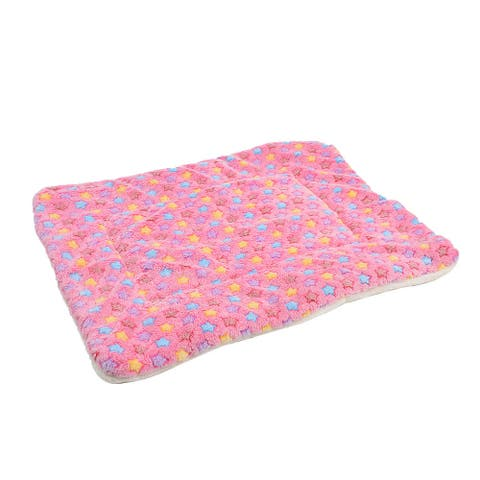 Pet Flannel Star Print Doggy Cushion Soft Warm Sleep Mat Dog Blanket Colorful L - Pink,Blue,Yellow