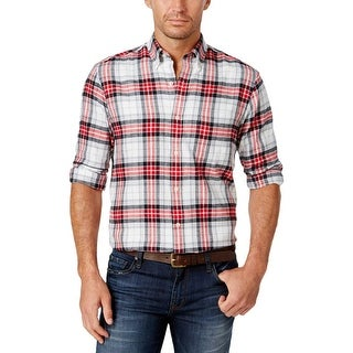John Ashford Mens Button-Down Shirt Fleece Plaid