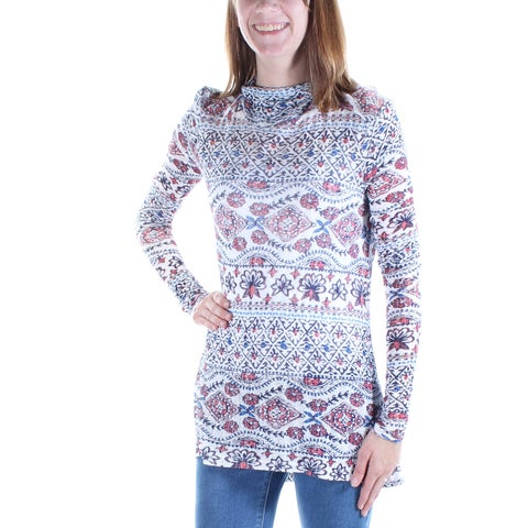 LUCKY BRAND Womens White Ikat Long Sleeve Turtle Neck Top Size: XS